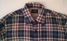 Vtg Sears Shirt M 15-15.5 Navy Blue Red Plaid Flannel Quilted Lining NEW NOS USA #Sears #ButtonFront