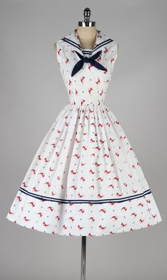 Sailboat Printed Cotton Sailor Dress, ca. 1950s