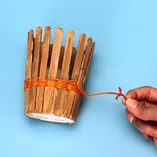 Woven Basket project for kids made with friendship thread