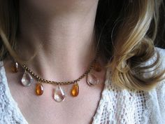 vintage crystal necklace / 1940s jewelry / CANDY BARREL. via Etsy.