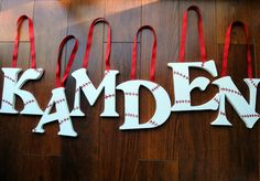 Name letters for sports room. Too cute, and we all know if I ever have a little boy his whole room with be sports!
