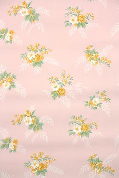 Real 1930s floral vintage wallpaper available from Hannah's Treasures. Thousands of authentic wallpaper rolls from the 1920s - 1970s. So many beautiful roses like these yellow flowers on pink!