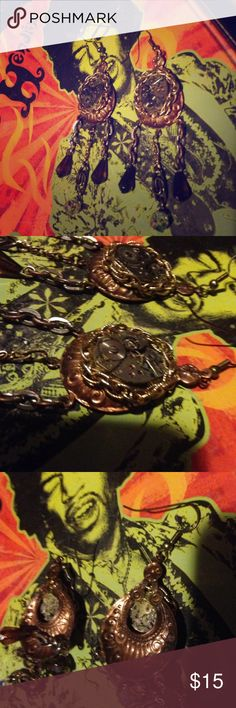 Clockwork steampunk earrings Handmade earrings from a fair made using watch insides. Barely ever worn Jewelry Earrings