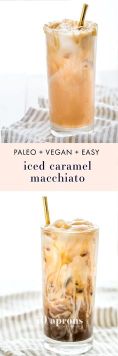 This paleo iced caramel macchiato is so rich and refreshing without any dairy or refined sugar! Using cold brew for a smooth taste means this paleo iced caramel macchiato is easy to make at home. The perfect vegan iced caramel macchiato for all summer long!