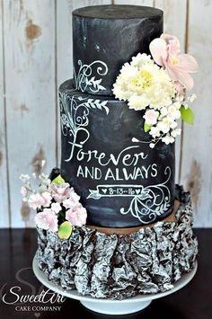 Rustic Chalkboard Cake by Shannon Mayes-SweetArt Cake Company Big Cakes, Fancy Cakes, Wilton Cakes, Cupcake Cakes, Cupcakes, Chalkboard Cake, Wedding Cake Designs, Wedding Cakes, Beautiful Cakes