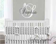 Nursery Wall Decals Name Monogram Wall Decal by SurfaceInspired