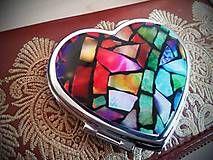 Zrkadielka - Zrkadielko kabelkové s farebnými kamienkami