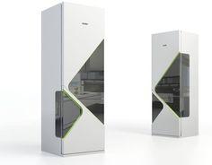 narrow futuristic mini fridge