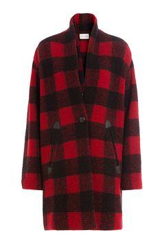 Karierter Mantel mit Wolle detail 0