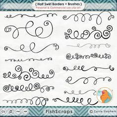 Swirl Border Clip Art + PS Brush, Curly Decorative Text Divider, Elegant Flourish Ornamentation Borders, DIY Invitations & Cards