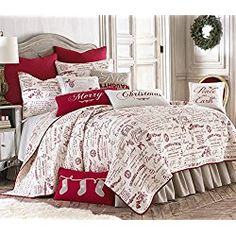 Noelle King Quilt Set, White/Red Script, Cotton Christmas Holiday