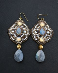 Labradorite, Sand Opal Crystal & Pearl Seed Bead Dangle Earrings