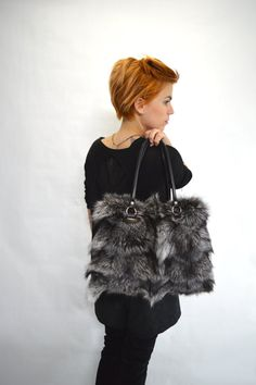 Real silver fox fur bag real fox fur handbag laptop bag by BeFur