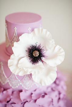 anemone cake detail - photo by Emily Millay Photography http://ruffledblog.com/candy-colored-wedding-inspiration-in-charlotte #weddingcake #cakes #anemones