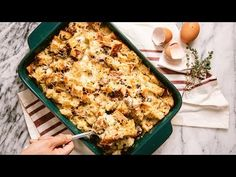 A Quick & Savory Bread Pudding Recipe for your Holiday Breakfast 9x13 Baking Pan, Baking Pans, Creamed Mushrooms, Stuffed Mushrooms, Savory Bread Puddings, Sausage Bread, Dessert, Sourdough Bread, Pudding Recipes