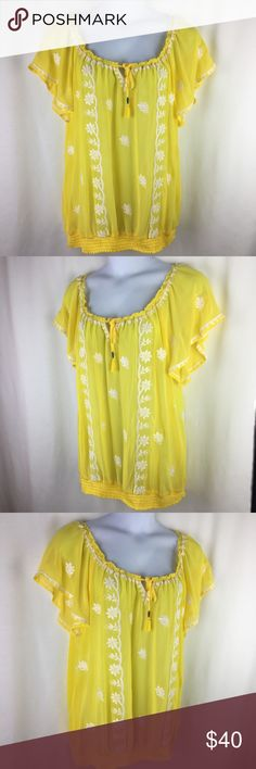 "Torrid Peasant Yellow Blouse Sz 2 Shirt Top Smock New Torrid Peasant Yellow Blouse Size 2 Embroidered Short Sleeve Shirt Top Smock Brand: Torrid Size: Plus Size 2 Color: Yellow, white Description: solid, embroidered floral  Condition: New with tags  Measurements are taken flat laid and approximated. CHEST        24"" Length         27"" Sleeve          10"" torrid Tops Blouses"