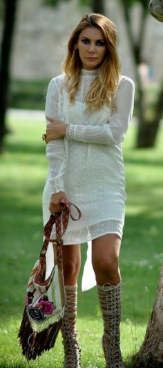 Shirt dress + Gladiator sandals