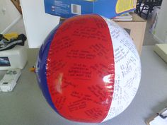 Ice-breaker beach ball:    Toss the ball; whoever catches it has to answer the question that their left thumb is touching.  Then they toss the ball to someone else...
