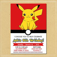 Invitation Pokemon Pikachu Pokemon Pikachu par NineLivesNotEnough