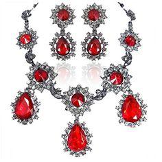 Ever Faith österreichischen Kristall Träne Form Halskette mit Ohrring Anhänger Schmuck-Sets rot Schwarz-Ton A14034-14 Ever Faith http://www.amazon.de/dp/B00PXUF8X6/ref=cm_sw_r_pi_dp_eKXVvb0W8PJYS