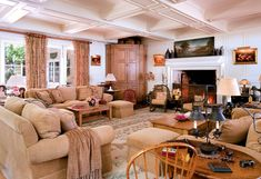 "Barbara Streisand's family room. ""I like textures, different textures of the same color,"" she says. ""I find it calming.""   Read more: http://www.oprah.com/oprahshow/Inside-Barbra-Streisands-Dream-Home/7#ixzz2UXIbekJ4"