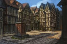 medieval deviantart town fantasy mendoza village concept positively skyrim rpg eddie landscape square towns market roleplay fake leyawiin concepts playing