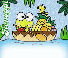 Dibujo de Keroppi navegando