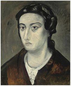 Andre Derain Portrait de Mme Derain 1914 x 46 cm) Female Portrait, Female Art, Picasso, Gino Severini, Maurice De Vlaminck, André Derain, London Painting, African Sculptures, Paul Cezanne