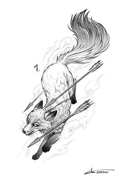 First week of 1 day - 1 sketch challenge is complete Tattoo Sketches, Tattoo Drawings, Body Art Tattoos, Art Sketches, Mädchen Tattoo, Mini Tattoos, Animal Sketches, Animal Drawings, Fox Tattoo Design