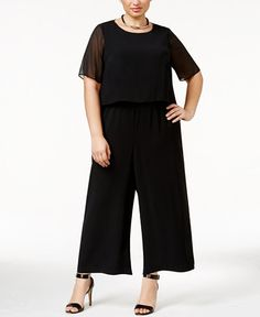 86.99$  Buy here - http://vixxq.justgood.pw/vig/item.php?t=j4q44t39164 - Plus Size Illusion Overlay Jumpsuit , Only at Macy's 86.99$