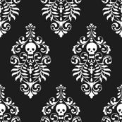 Skull Damask - white on black wallpaper by edenki for sale on Spoonflower - custom wallpaper. Custom made fabric and wallpaper. They even can make clothing labels! Damask Decor, Of Wallpaper, Skull Wallpaper, Custom Wallpaper, Fabric Wallpaper, Skull Fabric, Halloween Patterns, Stencil Patterns, Skull And Bones