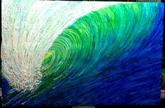 Ocean wave melted crayon art