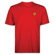 Official Ferrari Merchandise – Adult V-Neck T-Shirt in Red  Comes complete in official packaging.  This T-shirt is great for those Ferrari fans who prefer a more casual and lifestyle orientated look, a popular classic in the Ferrari range featuring the Ferrari Scudetto badge on the left chest complete with red and green stitching on the shoulders.  Made from 100% cotton this T-shirt has a regular fit and ribbed v-neck.