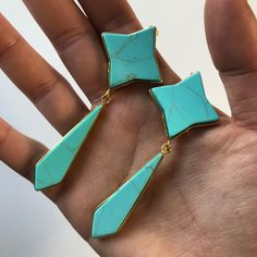 Miz Casa & Co Star Flower Earrings Turquoise Gold Flower Earrings, Drop Earrings, Turquoise Blue Color, Star Flower, Simple Outfits, Natural Gemstones, 18k Gold, Arrow Necklace, Jewellery
