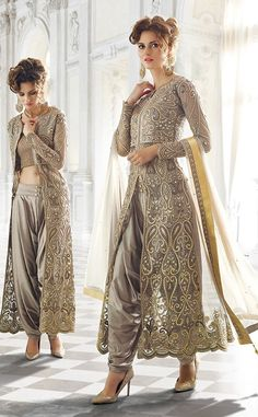 Grey designer wear Indian dhoti style anarkali suit in net Indian Wedding Outfits, Pakistani Outfits, Indian Outfits, Wedding Dresses, Indian Attire, Indian Wear, Indian Style, Saris, Pakistani Couture