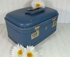 Retro CornFlower Blue Train Case  Vintage US by DivineOrders, $23.00