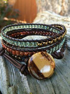 Beaded Leather Wrap Bracelet. Chestnut by SilveryBeachDesigns, $39.00