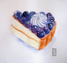 Blueberries Vanilla Tart Cake Slice - Original Watercolor Painting. $20.00 USD, via Etsy.