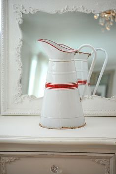 white + red striped enamelware pitcher | collectibles + home decor