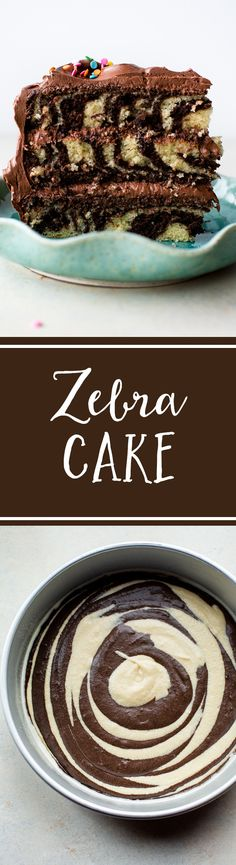 How to make chocolate and vanilla zebra cake! Topped with creamy chocolate cream cheese frosting, this easy, moist, and delicious cake is a showstopper! Recipe on sallysbakingaddic. Köstliche Desserts, Chocolate Desserts, Delicious Desserts, Delicious Chocolate, Cupcake Recipes, Baking Recipes, Dessert Recipes, Chocolate Cream Cheese Frosting, Best Carrot Cake