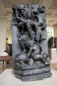 Photo: Stone sculpture of Durga Mahishasuramardini in the British Museum, London Stone Sculpture, Sculpture Art, Sculptures, Tibet, Indian Temple Architecture, Krishna Statue, Hindu Rituals, Apocalypse Art, Indian Artwork