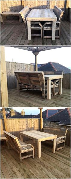 Let's present you with a marvelous creation of recycled wooden pallet planks that smartly turn and reshape into this terrace furniture out of pallet wood. These two patio pallet benches with a seating place of three persons on each and a giant table structure seem great to renovate your terrace and garden area.