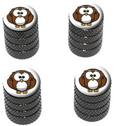"""Amazon.com : (4 Count) Cool and Custom """"Diamond Etching Cartoon Owl Top with Easy Grip Texture"""" Tire Wheel Rim Air Valve Stem Dust Cap Seal Made of Genuine Anodized Aluminum Metal {Black, White, and Brown Colors} : Sports & Outdoors"""