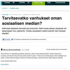Keskustelua Ylen Suora Linja -ohjelman sivuilla. Tarvitsevatko vanhukset oman sosiaalisen median?