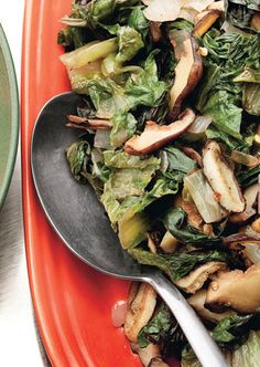 Sauté of Winter Greens and Shiitake Mushrooms - Could be a great stand alone dinner with a baguette and wine.