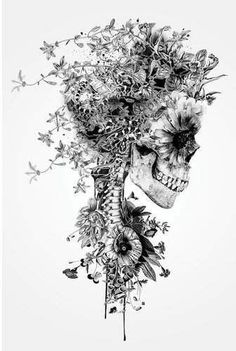 Impression d'art graphique «Floral Skull Series: Skull B&W Floral Skull Tattoos, Skull Tattoo Flowers, Flower Skull, Pretty Skull Tattoos, Skull Drawing With Flowers, Flower Neck Tattoo, Indian Skull Tattoos, Deer Skull Tattoos, Skull Sleeve Tattoos