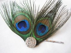 Peacock Feather Hair Pin  Bridesmaid or Bride Prom by IsleOfOwlie, $16.00