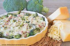 Koolhydraatarme broccolitaart met ham en kaas A Food, Good Food, Food And Drink, Yummy Food, Quiches, Low Carb Quiche, Healthy Recepies, Pasta, No Cook Meals