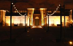 "Festoon lights on a free-standing gantry for a ""Beach"" themed 50th birthday party at Dulwich Picture Gallery by www.stressfreehire.com #venuetransformers"