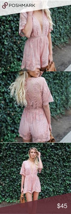 NWT Blush Pink Lace Crochet Romper Bought and never wore 😩 super cute I just feel like it clashes with my tattoos so I never got around to wearing it. Tagged lulu for views. Brand new with tags. I paid $88 originally. Lulu's Pants Jumpsuits & Rompers